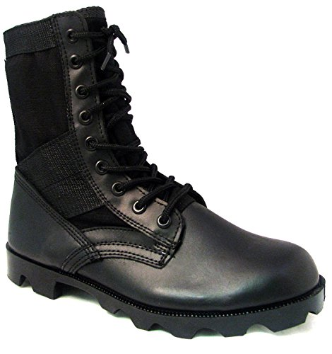 Men's Jungle Boots G.I. Type Lace up Tactical Combat Military Work Shoes Width: Wide (W or 2E) (7 W US, Black) - Gi Style Jungle