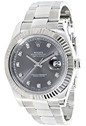 NEW Rolex Datejust II 41MM 18K White Gold Bezel Stainless Steel Grey Dial Mens watch 116334 GAO
