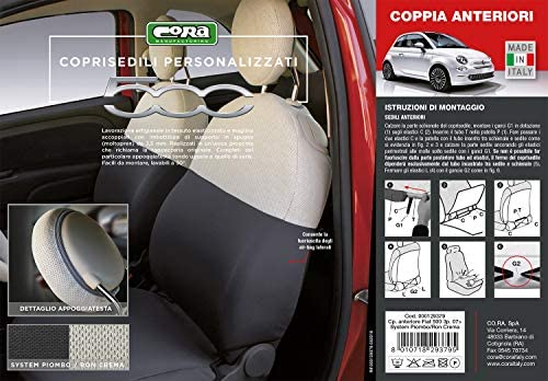 CORA 000129379/Funda de Asientos Delanteros Personalizadas Fiat 500/07/ de Tela System Plomo//Ron Crema