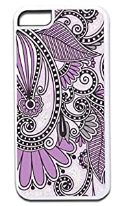 02-Purple Paisley- Case for the APPLE IPHONE 6 ONLY!!! (Not Compatible with the Iphone 6 PLUS!!) -Hard White Plastic Outer Case with Soft Inner Black Rubber Lining