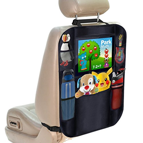 Oetoe Backseat Organizer + iPad and Tablet Holder - X-Large Multifunctional 5 Pocket Storage Car Seat Back Organizer and Kick Mat Protector, To Organize All Baby, Kids Travel Accessories ()