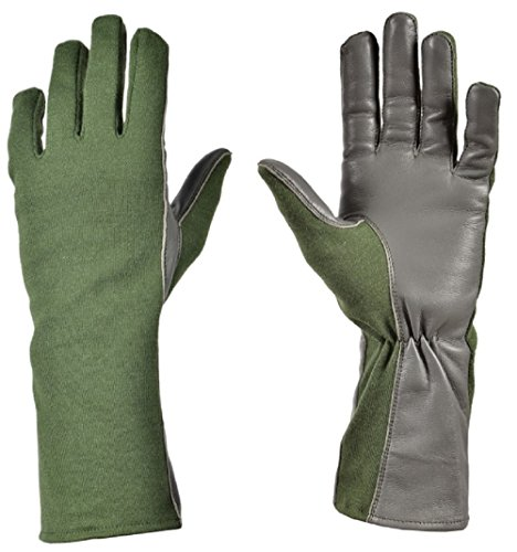 Nomex Flight Gloves Military flight gloves nomex gloves olive drab Best leather aviator gloves and pilot gloves nomex for leather flight deck gloves and gloves (9 (Long), Olive)