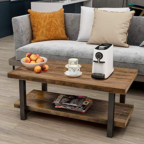 P PURLOVE Designs Coffee Table Rustic Style Solid Wood+MDF and Iron Frame Rectangle Coffee Table for Living Room with Open Shelf Easy Assembly