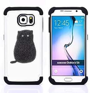 - black cartoon cat kitten white minimalist/ H??brido 3in1 Deluxe Impreso duro Soft Alto Impacto caja de la armadura Defender - SHIMIN CAO - For Samsung Galaxy S6 G9200