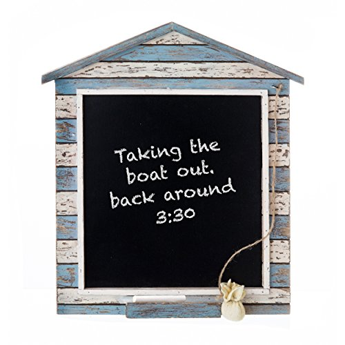 Prinz Chalkboard with Wood Border in Distressed White and Blue Finish