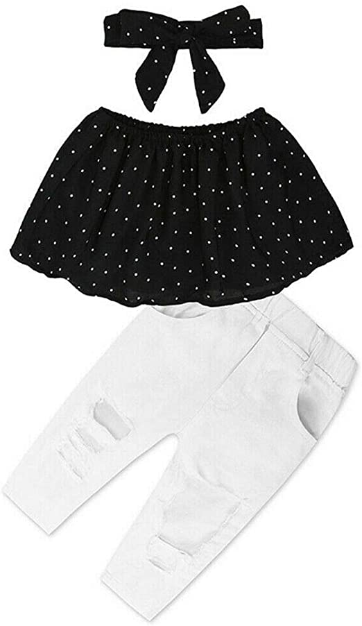 Waymine Kids Long Sleeve Polka Dot Rabbit Floral Strap Dress Tops Baby Dress for Girl