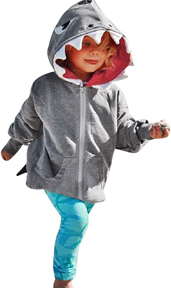 SUNBIBE????Little Baby Boy Girl Toddler Cartoon Shark Long Sleeve Pullover Hoodie Sweatshirt Top with Pocket Warm Clothing