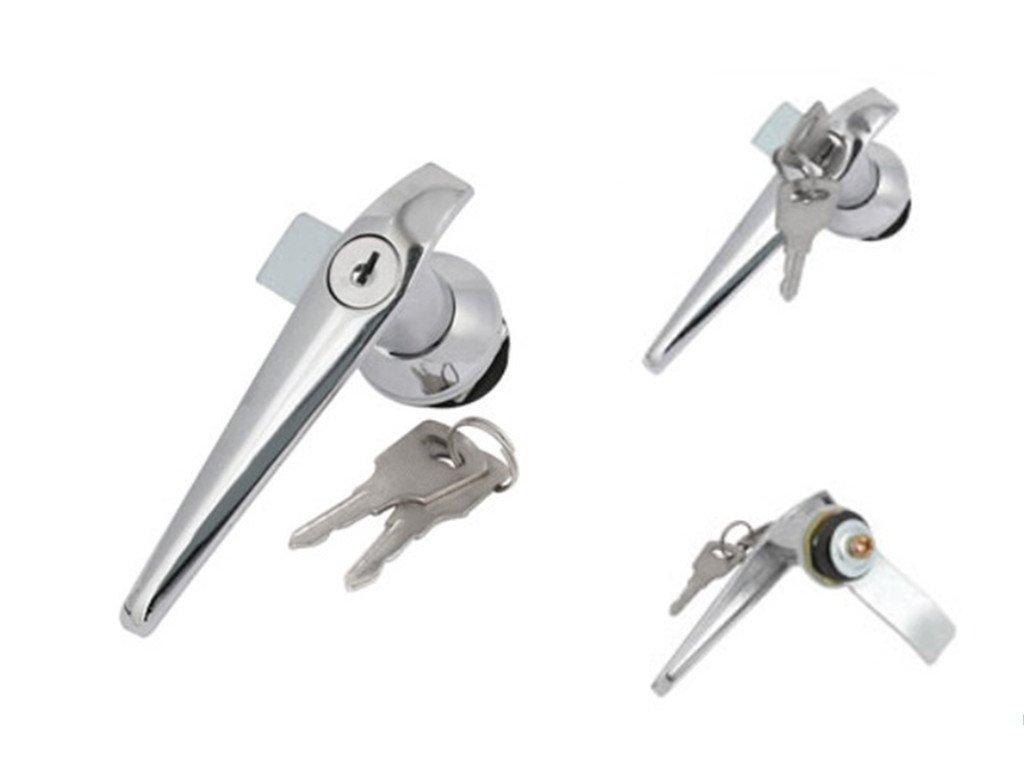 Door Cupboard Lever Key L Shape Handle Lock w Keys Silver Tone