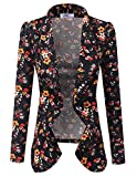 Doublju Classic Draped Open Front Blazer for Women with Plus Size BLACKFLOWER 3XL