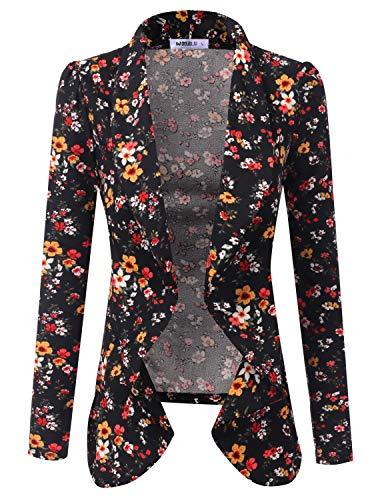 (Doublju Classic Draped Open Front Blazer for Women with Plus Size BLACKFLOWER Large)