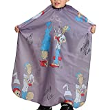Colorfulife® Child Hair Cutting Waterproof Cape Wai Cloth Barber Kids Hair Styling Cape Professional Home Salon Camps & Hairdressing Wrap Children Cartoon Men Hairdresser Pattern Capes (Grey)