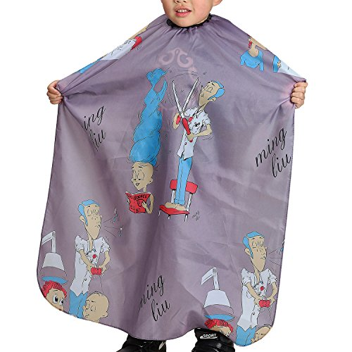Colorfulife Child Hair Cutting Waterproof Cape Barber Kids Hair Styling Cloth with Snap Closure Professional Home Salon Hairdressing Wrap Cartoon Men Pattern B003 (Grey)