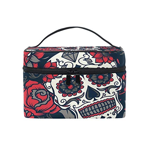 Travel Makeup Bags With Zipper Halloween Candy Skull Cosmetic Bag Toiletry Bags Train Cases Storage Bags Portable Multifunction Case with Adjustable Dividers]()