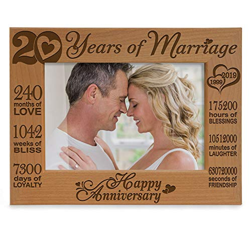 Kate Posh - 20 Years of Marriage 1999 Through 2019, Our 20th Anniversary Engraved Natural Wood Picture Frame, Twenty Years Together, Wedding for Husband & Wife (5x7 Horizontal)