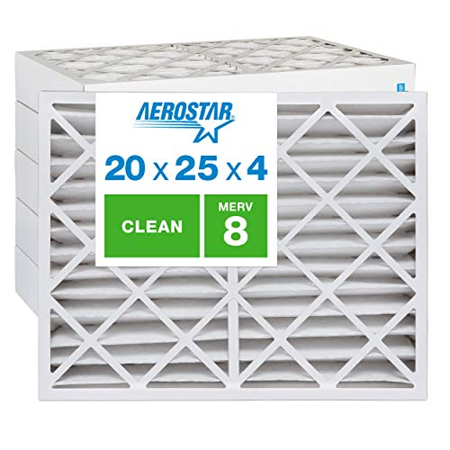 Aerostar Clean House 20x25x4 MERV 8 Pleated Air Filter, Made in the USA, 6-Pack