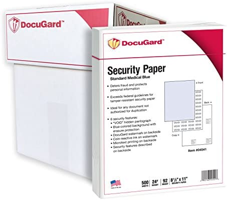 DocuGard Standard Medical Security Paper for Printing Prescriptions and Preventing Fraud, CMS Approved, 6 Security Features, Laser and Inkjet Safe, Blue, 8.5 x 11, 24 lb, 2500 Sheets (04541C)