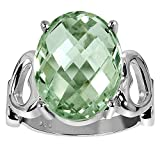 Orchid Jewelry 925 Sterling Silver Ring Green Amethyst (8.50 cttw, 16x12 mm Cushion)