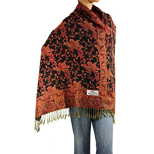 (Falari Women's Woven Paisley Pashmina Shawl Wrap Scarf 80