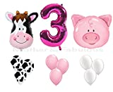 3rd BIRTHDAY cow and pig baby girl party decoration with 12 ct pink balloons and 12 ct cow balloons and 12 ct white balloons and number ''3'' foil pink balloon . total 39 count