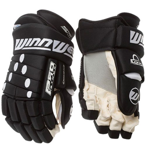 Winnwell Classic 4-Roll Pro Senior Hockey Gloves - Black (Pro 4 Roll Hockey Gloves)