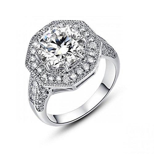 [LeoBon Art Deco Jewelry Luxury Vintage Party Gift Rings for Women White Topaz CZ Diamond 18K White Gold Plated] (Costume Jewelry Diamond Rings)