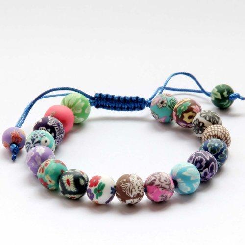 Multi-color Fimo Flower Bead Adjustable (Multi Color Flower Bead)