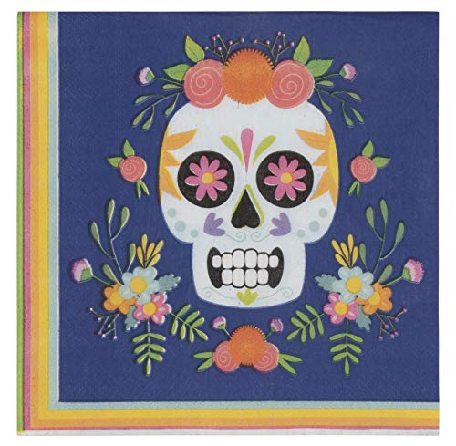 Cocktail Napkins - 150-Pack Luncheon Napkins, Disposable Paper Napkins Day of The Dead Party Supplies, 2-Ply, Dia De Los Muertos Skull Design, Unfolded 13 x 13 Inches, Folded 6.5 x -