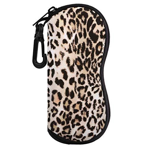 Moko Sunglasses Soft Case Ultra Light Neoprene Zipper Eyeglass Case w/Belt Clip - Leopard