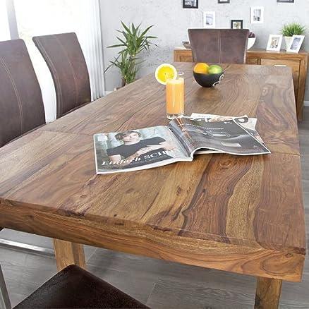 Tavolo da pranzo BONJANNA, vero legno Sheesham massiccio, 120 cm ...