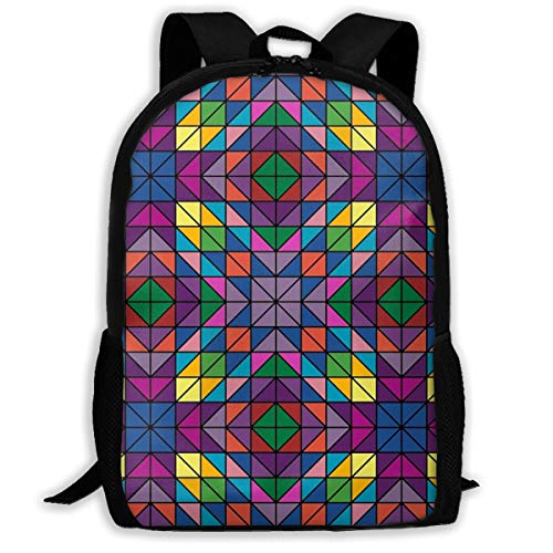 Yunshm Triangle Glass Colors Colorful Customized Casual Backpack Ultra Light Adjustable Strap Unisex For Outdoor Travel
