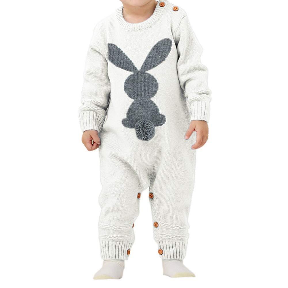 0-2 Anni a Un Pezzo Maglione Body per Bambino Pagliaccetti Knit Cotone Neonato con Coniglio Carino URMAGIC Tuta Invernale Bimba e Bimbo