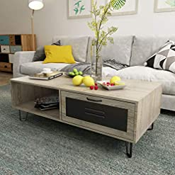 Living Room Mecor Modern Coffee Table with 1 Drawer and 2 Storage Shelf for Living Room, Rectangular Center Tea Table with V Style… modern coffee tables