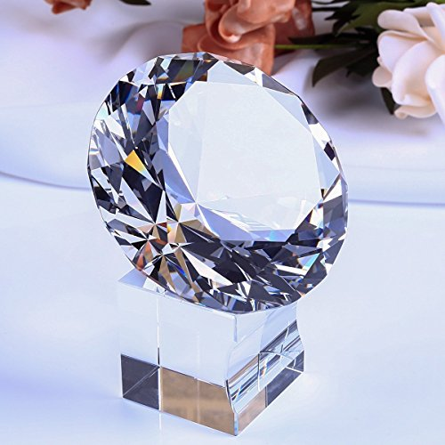 EOFEEL large diamond crystal glass paperweight with crystal stand home office decor (Clear Diamond Cut Acrylic)