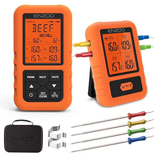 Digital Meat Thermometer for Grilling,ENZOO 2019 the Newest 500FT Wireless Ultra Fast Cooking Food Thermometer with 4 Probes,178°Wide View Angle Meat Thermometer for Kitchen, BBQ,Smoker,Milk