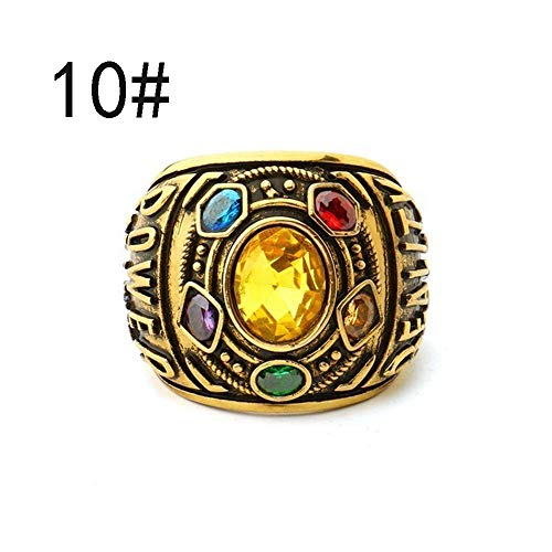 Gbell Vintage Power Rings Infinity Wars Thanos Jewelery Letter Gold Rings Statement for Men Women Teen Boys Girls Jewelry Gifts,Unisex,Size 7-12 from Gbell