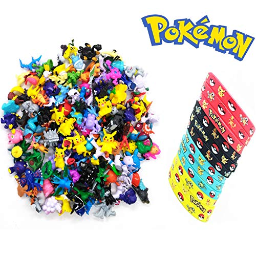 Jinhuamike Pokemon Theme Party Decorations Supplies Bundle Favors Pack-24 Mini Action Figures,12 Bracelets Kids & Adult Party Celebration by Jinhuamike