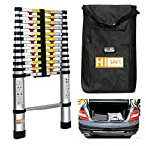 12.5' One-touch Release Telescopic Ladder Portable Aluminum Lightweight w/ Storage Bag, 330Lb