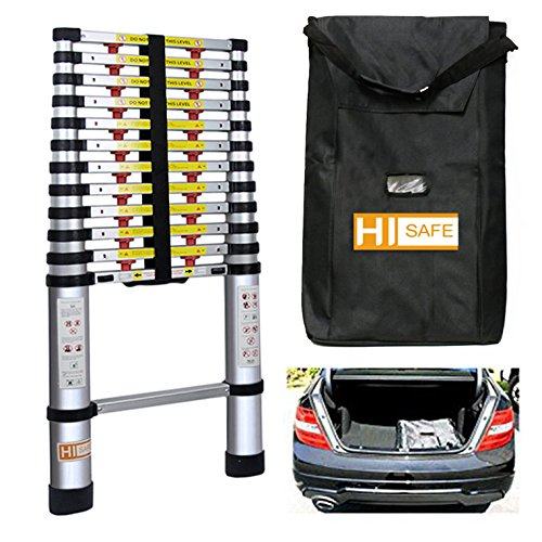 12.5' One-touch Release Telescopic Ladder Portable Aluminum Lightweight w/ Storage Bag, 330Lb by HISAFE (Image #6)