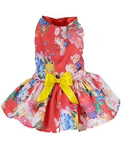 Dog Dresses For Small Dogs,Lillypet® Cute Puppy Pet Dog Cat Princess Dress Small Dog Floral Dress Clothes (XL, Red)