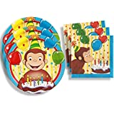 Curious George Birthday Party Supplies Set Large Plates & Napkins Tableware Kit for 16