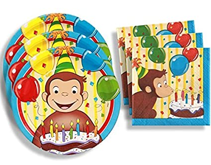 Curious George Birthday Party Supplies Set Large Plates u0026 Napkins Tableware Kit for 16  sc 1 st  Amazon.com & Amazon.com: Curious George Birthday Party Supplies Set Large Plates ...