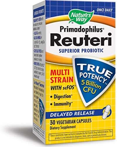 Nature's Way Primadophilus Reuteri, 5 Billion CFU, Superior Probiotic Multi Strain with scFOS, Delayed Release, 30 Capsules