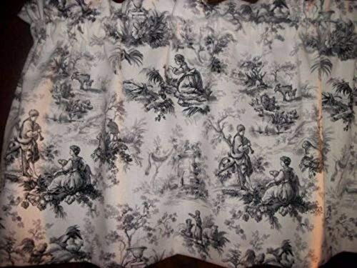 Toile Black Gray Chicken Rooster waverly fabric country curtain Valance matching throw pillow cover available