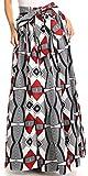 Sakkas 16317 - Asma Convertible Traditional Wax Print Adjustable Strap Maxi Skirt   Dress - 2288-White/Black - OS