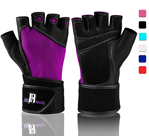 RIMSports Wrist Wrap Gloves for Gym Workout - Premium Weight Lifting Gloves for Gym Equipment, Cross Training - Best Gym Gloves - Gym Weights Equipment Power Lifting (Purple L)