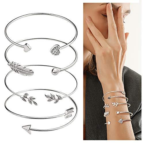 Suyi 4 Pcs Adjustable Cuff Bracelet Open Wire Bangle Stackable Wrap Bracelet Set for Women Girls Silver