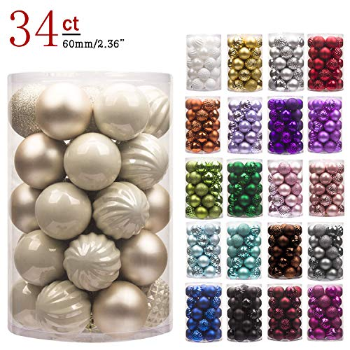 "KI Store 34ct Christmas Ball Ornaments Shatterproof Christmas Decorations Tree Balls for Holiday Wedding Party Decoration, Tree Ornaments Hooks Included 2.36"" (60mm Champagne)"