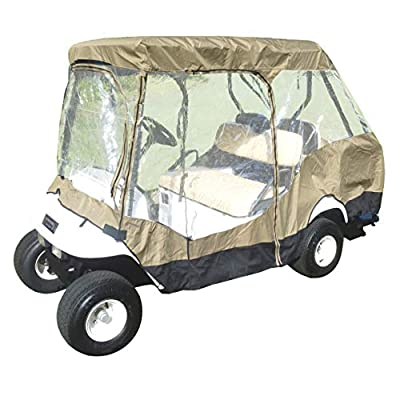 Formosa Covers Premium Tight Weave Golf Cart Driving Enclosure for 4 Seater with 2 Seater roof up to 58""