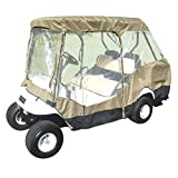 Formosa Covers Premium Tight Weave Golf Cart Driving Enclosure 2 Passenger Front Seat+ 2 Passenger Bench roof up to 58