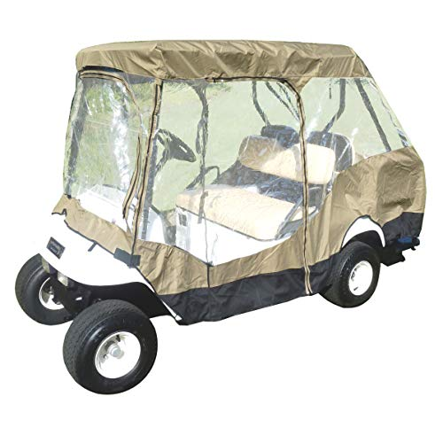 Ez Go Golf Cart Enclosures - Formosa Covers Premium Tight Weave Golf Cart Driving Enclosure for 4 Seater with 2 Seater roof up to 58
